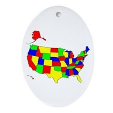 MAP OF AMERICA Ornament (Oval)