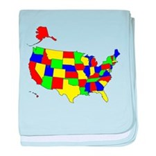 MAP OF AMERICA baby blanket