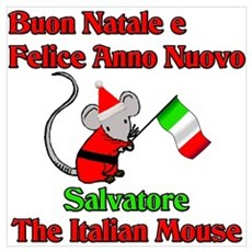 Salvatore the Italian Christmas Mouse Canvas Art