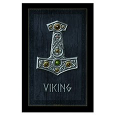 Thor's Hammer X Silver Viking Poster