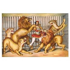 Lion Tamer Old Circus Print Poster
