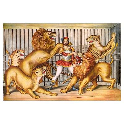 Lion Tamer Old Circus Print Poster