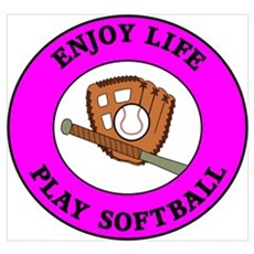 Enjoy Life Play Softball Framed Print