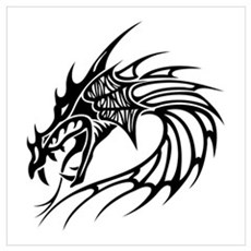 Tribal Dragon Head Poster