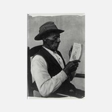 Old Man Reading Rectangle Magnet