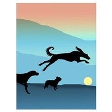 Dogs Chasing Ball Framed Print