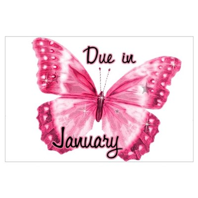 Due January Sparkle Butterfly Poster
