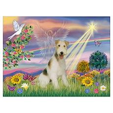 Cloud Angel & Wire Fox Terrier Poster