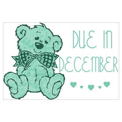 Green Marble Teddy Due December Poster