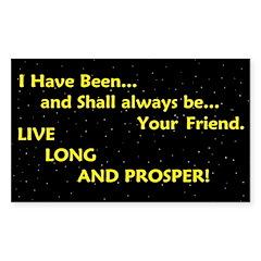 Live long and prosper Sticker (Rectangle 50 pk)