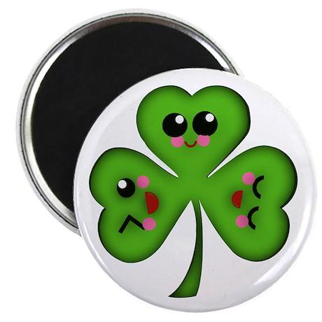 """Cute Kawaii Art Shamrock 2.25"""" Magnet (100 pack)"""