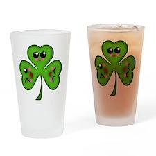 Cute Kawaii Art Shamrock Drinking Glass