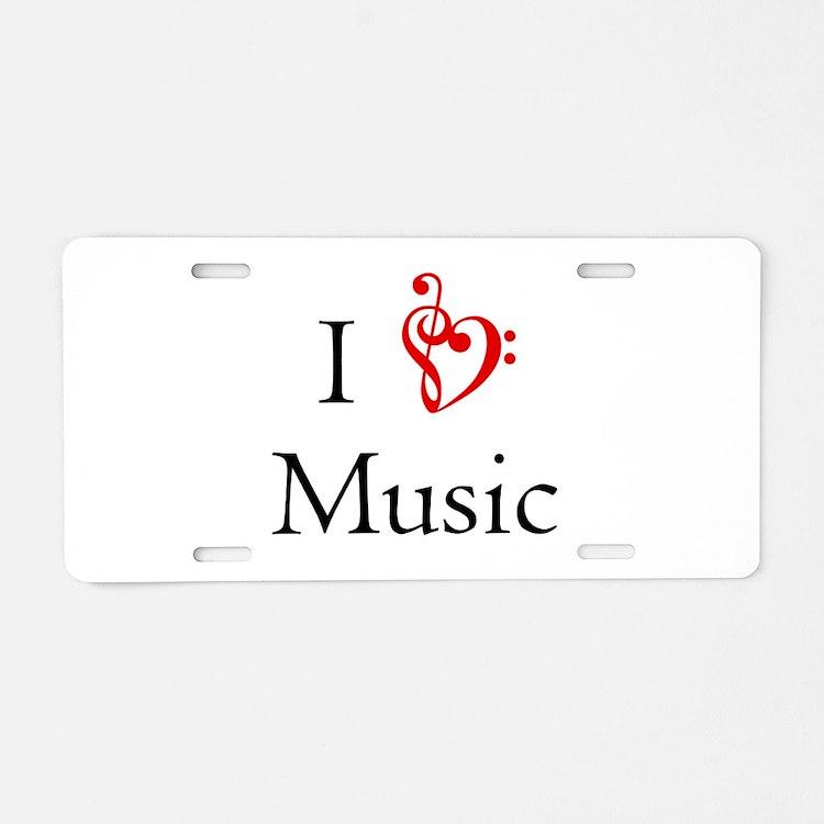 I Heart Music Aluminum License Plate