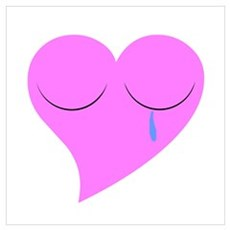 Crying Pink Heart Framed Print