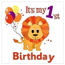 1st Birthday Lion Poster