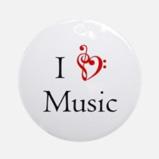 I heart Music Ornament (Round)