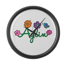 Aylin Flowers Large Wall Clock