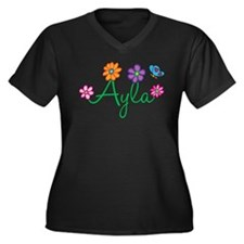 Ayla Flowers Women's Plus Size V-Neck Dark T-Shirt