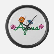 Ayana Flowers Large Wall Clock