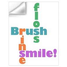 Brush Floss Rinse Smile Wall Decal