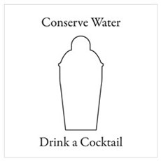 Conserve Water Drink a Cocktail Poster