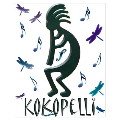 Kokopelli with Musical Notes Poster
