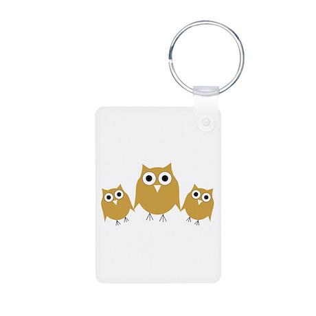 Gold Owls Aluminum Photo Keychain