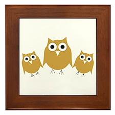 Gold Owls Framed Tile
