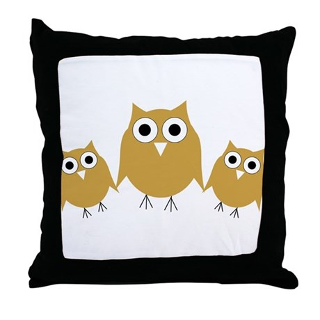 Gold Owls Throw Pillow