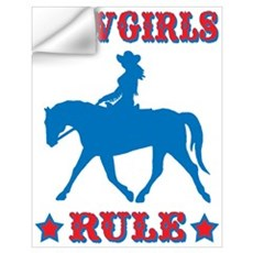 Red & Blue Cowgirls Rule Wall Decal