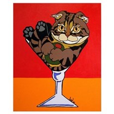Scottish Fold Martini Poster