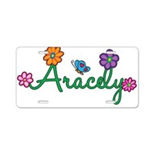 Aracely Flowers Aluminum License Plate