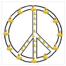 Yellow Ducky Peace Symbol Poster