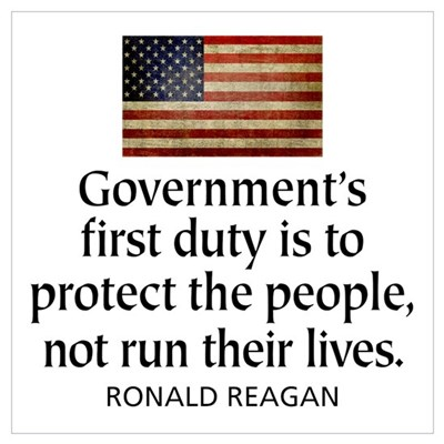 REAGAN: Government's first duty... QUOTE Framed Pa Canvas Art