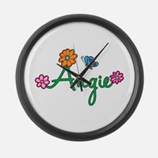Angie Flowers Large Wall Clock