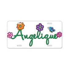 Angelique Flowers Aluminum License Plate