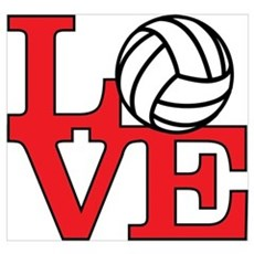 Volleyball Love - Red Poster