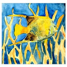 sealife fish tropical art gif Poster