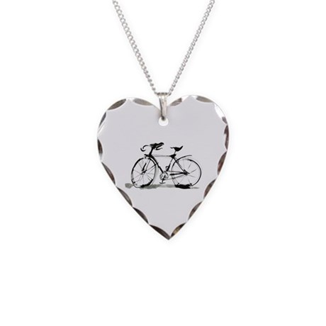 Bicycle Necklace Heart Charm