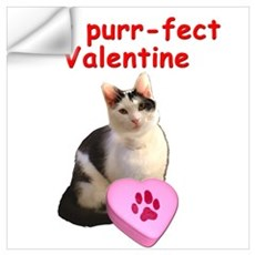 Purrfect Valentine Cat Wall Decal