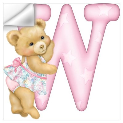 Teddy Alphabet W Pink Wall Decal