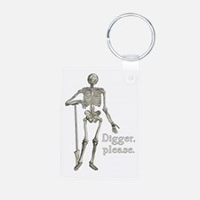 Digger, Please Funny Skeleton Aluminum Photo Keych