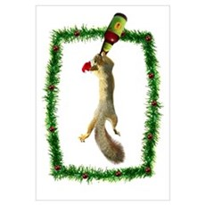 Holiday Squirrel with Beer Poster