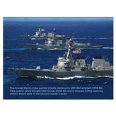3 Destroyers Abreast Canvas Art