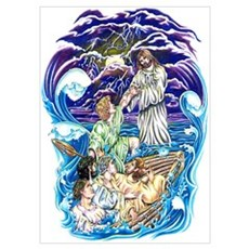 Jesus Walks on Water Poster