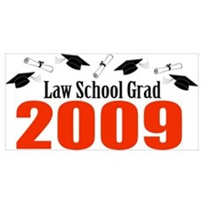 Law School Grad 2009 (Red Caps And Diplomas) Large Poster