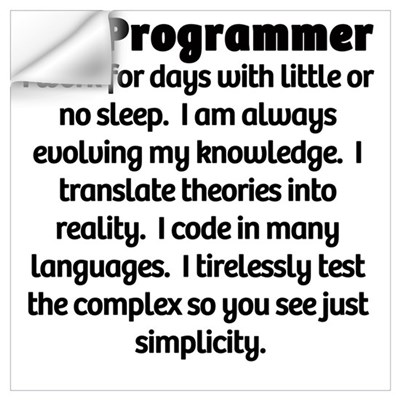 I am a Programmer Wall Decal