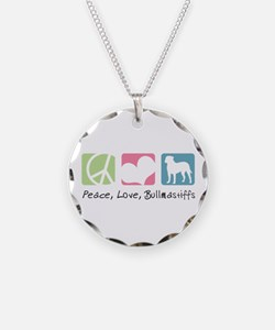 Peace, Love, Bullmastiffs Necklace