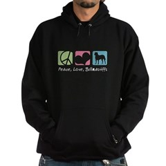 Peace, Love, Bullmastiffs Hoodie (dark)