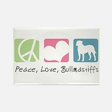 Peace, Love, Bullmastiffs Rectangle Magnet (100 pa